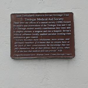 Heritage trail plaque on building of Tredegar Medical Aid Society (credit: NHS at 70)