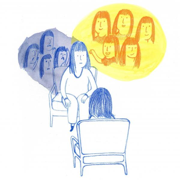 Counselling for social anxiety disorder, illustration. Credit: Jasmine Parker.