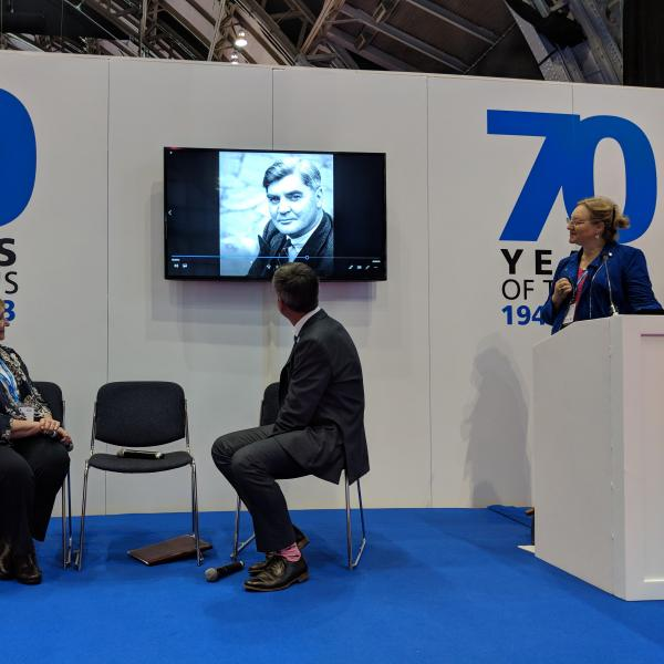 NHS at 70: The Story of our Lives Project Director, Stephanie Snow presenting at NHS Expo