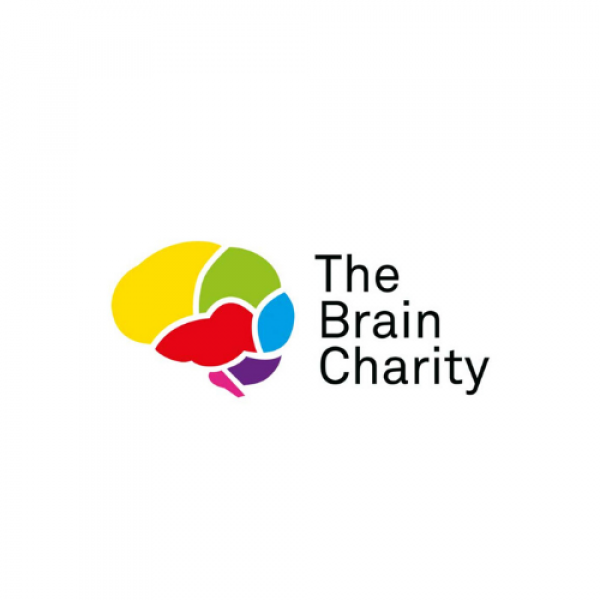 The Brain Charity Logo: a multicoloured brain
