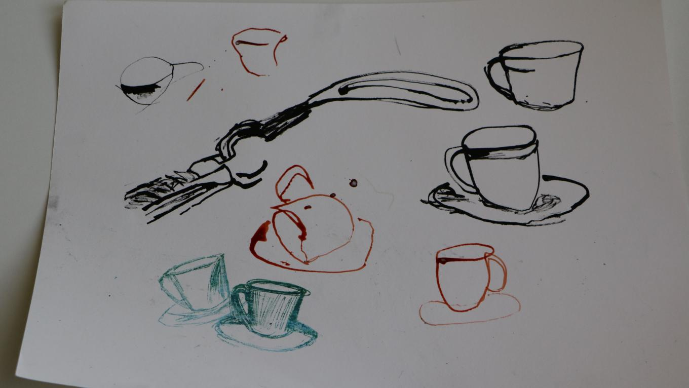 A still life of forceps and some teacups